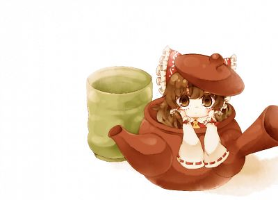 brunettes, Touhou, white, chibi, long hair, brown eyes, Suzuka, Hakurei Reimu, detached sleeves - desktop wallpaper
