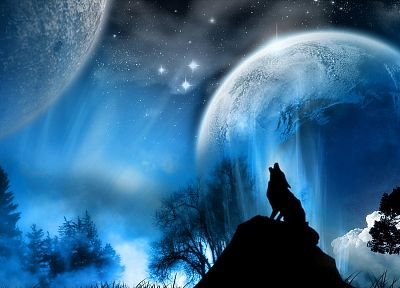 outer space, stars, planets, wolves - desktop wallpaper