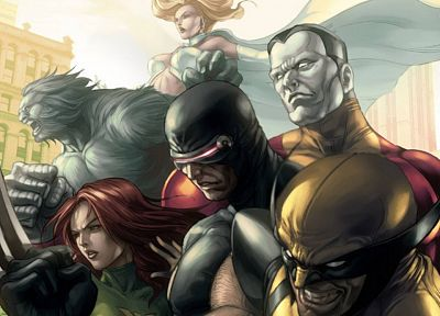 comics, X-Men, Wolverine, Jean Grey, colossus, Marvel Comics, Cyclops, Hank McCoy (Beast) - related desktop wallpaper