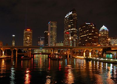 water, cityscapes, skylines, lights, architecture, bridges, buildings, Tampa Bay Lightning - related desktop wallpaper