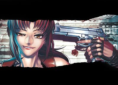 Black Lagoon, Revy, guns, suicide, ponytails, black hair - related desktop wallpaper