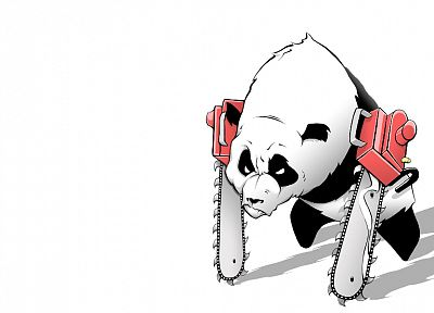 chainsaw, panda bears, artwork, simple background, white background - related desktop wallpaper