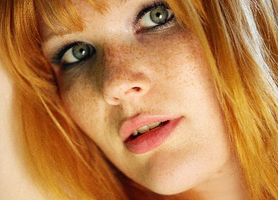 women, redheads, freckles, faces, Lynette - random desktop wallpaper