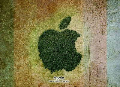 Apple Inc., grass, logos - related desktop wallpaper