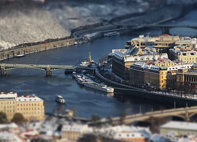cityscapes, Prague, tilt-shift, rivers, winter sports - desktop wallpaper