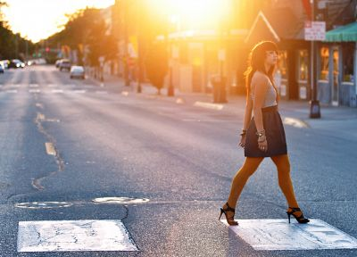 women, cityscapes, streets, urban, sunlight, roads, morning - desktop wallpaper