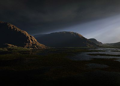 3D view, landscapes, hills, ponds - random desktop wallpaper