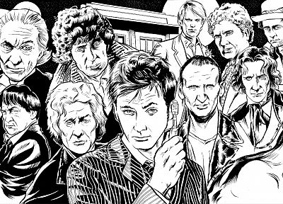 black and white, sketches, Fourth Doctor, doctors, Eleventh Doctor, artwork, Doctor Who, Tenth Doctor, Third Doctor, First Doctor, Eighth Doctor, Second Doctor, Ninth Doctor, Sixth Doctor, Fifth Doctor, Seventh Doctor - related desktop wallpaper