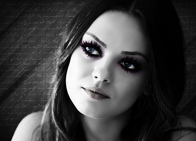 women, black and white, Mila Kunis, artwork, selective coloring, faces, portraits - related desktop wallpaper