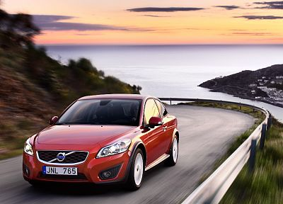 water, sunset, nature, cars, outdoors, vehicles, Volvo C30, skies - desktop wallpaper