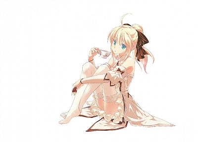 blondes, Fate/Stay Night, stockings, Fate Unlimited Codes, Saber, anime girls, Saber Lily, detached sleeves, Fate series - related desktop wallpaper
