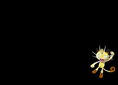 Pokemon, Meowth, simple background, black background - desktop wallpaper