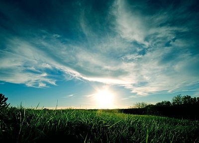 green, clouds, landscapes, nature, grass, skyscapes - random desktop wallpaper
