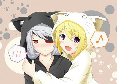 animal ears, Infinite Stratos, Dunois Charlotte, Bodewig Laura - desktop wallpaper