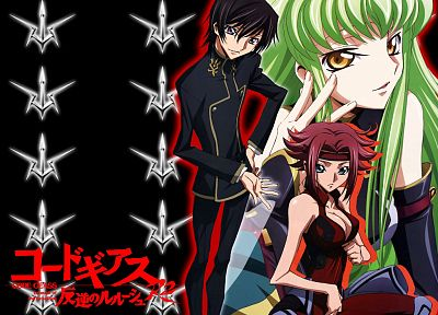 brunettes, Code Geass, pink hair, green hair, Stadtfeld Kallen, Lamperouge Lelouch, C.C., anime - related desktop wallpaper