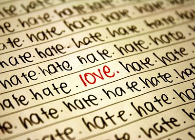 love, text, typography, hate, depth of field, selective coloring - related desktop wallpaper
