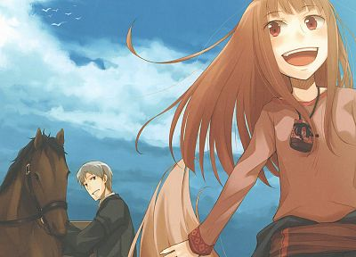 clouds, Spice and Wolf, blue eyes, long hair, red eyes, horses, short hair, open mouth, anime boys, orange hair, gray hair, skyscapes, Holo The Wise Wolf, apples, anime girls, low-angle shot, talisman - related desktop wallpaper