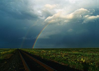 clouds, rainbows, railroad tracks, double rainbow, skyscapes - desktop wallpaper