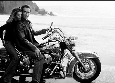 jeans, grayscale, Arnold Schwarzenegger, motorbikes, reflections, Maria Shriver, beaches - related desktop wallpaper