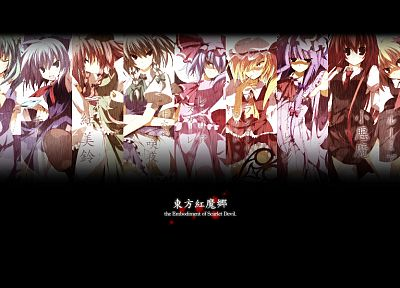 Touhou, Cirno, Izayoi Sakuya, vampires, Flandre Scarlet, Koakuma, Hong Meiling, panels, Patchouli Knowledge, Rumia, Daiyousei, Remilia Scarlet, Embodiment of Scarlet Devil - desktop wallpaper