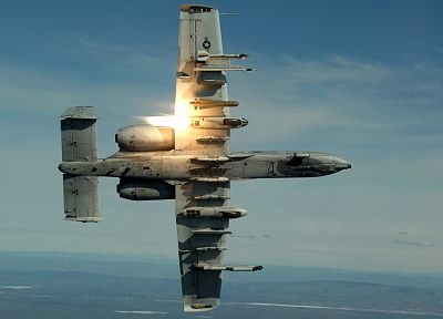 aircraft, military, planes, flares, A-10 Thunderbolt II - desktop wallpaper