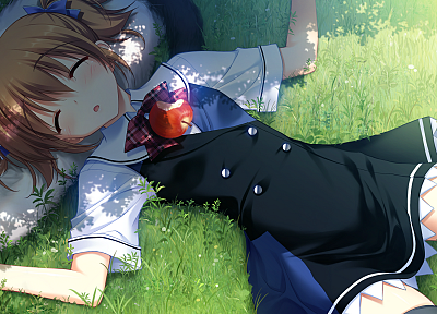 cats, school uniforms, schoolgirls, game CG, sleeping, anime, apples, anime girls, Grisaia no Kajitsu, Irisu Makina - desktop wallpaper