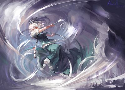 Touhou, katana, samurai, weapons, Konpaku Youmu, short hair, white hair, anime girls, hair band, swords - desktop wallpaper