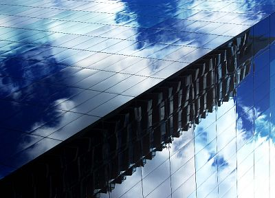 clouds, architecture, buildings, reflections - desktop wallpaper