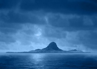 blue, clouds, night, Moon, islands - desktop wallpaper