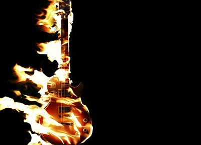 fire, guitars, black background - desktop wallpaper