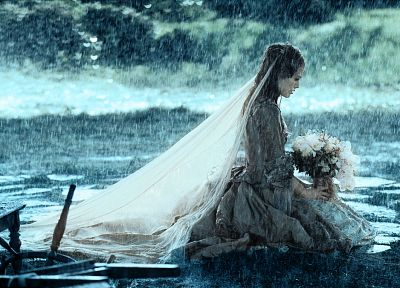 women, rain, flowers, Keira Knightley, brides, Pirates of the Caribbean - related desktop wallpaper