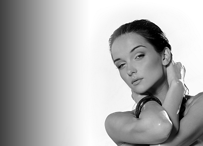 women, Katie Fey, monochrome, greyscale, Ukrainian - desktop wallpaper