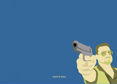 minimalistic, guns, The Big Lebowski, simple background, blue background - desktop wallpaper
