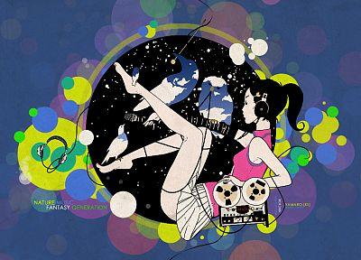 headphones, music, multicolor, cassette, artwork, anime girls, Asian Kung-Fu Generation - random desktop wallpaper