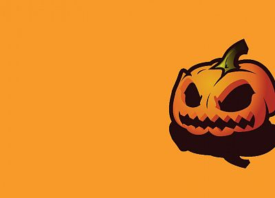 orange, Halloween, simple background, pumpkins - desktop wallpaper