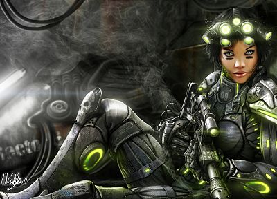 women, video games, StarCraft, DeviantART, sniper rifles, short hair, artwork, female warriors, night vision, Ghost (Starcraft) - related desktop wallpaper