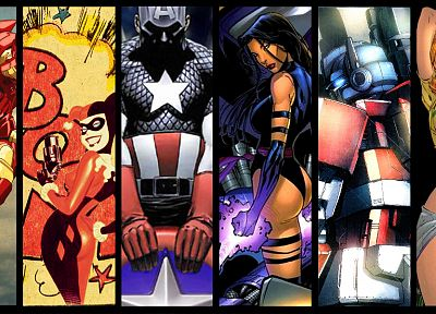 Batman, Optimus Prime, Iron Man, DC Comics, Spider-Man, Captain America, Harley Quinn, Psylocke, Rogue, Marvel Comics, Gen13, Caitlin Fairchild, Wonder Woman - desktop wallpaper