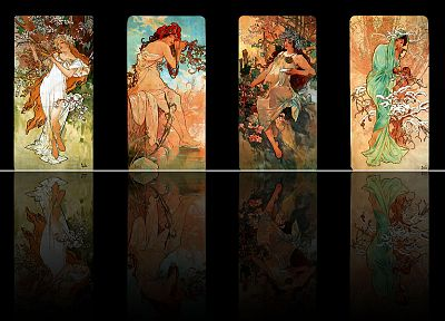 seasons, Alphonse Mucha, panels, reflections, black background - desktop wallpaper