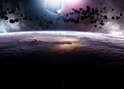 outer space, eclipse, asteroids, meteorite - desktop wallpaper