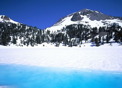 ice, landscapes, snow, peak, California, Helen, National Park, Lassen Volcanic National Park - related desktop wallpaper