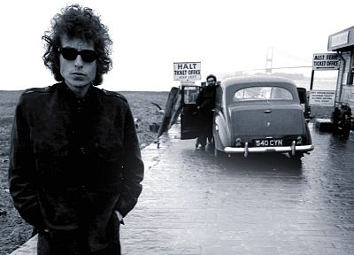 Bob Dylan, sunglasses, monochrome, album covers, hands in pockets - related desktop wallpaper