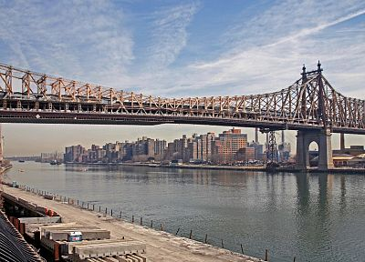 clouds, cityscapes, bridges, New York City, Industrial, Manhattan, rivers, East River - related desktop wallpaper