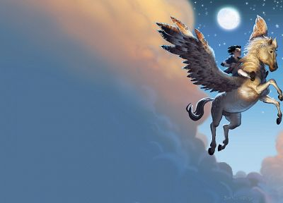 fantasy art, pegasus, boys, chronicles of Narnia - desktop wallpaper
