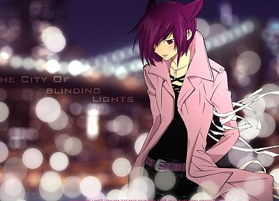 nekomimi, Loveless, purple hair, cat ears, anime, anime boys, Ritsuka Aoyagi, purple eyes, bandages - desktop wallpaper