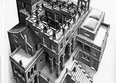 buildings, illusions, MC Escher - random desktop wallpaper