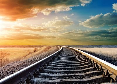 clouds, landscapes, scenic, railroads - desktop wallpaper
