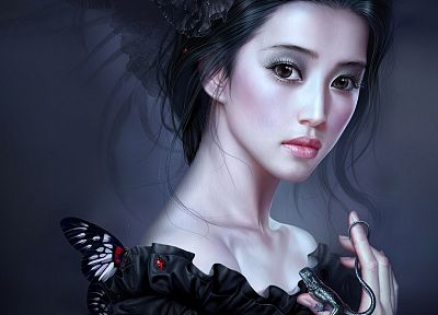 brunettes, women, insects, fantasy art, geckos, Asians, big eyes, black dress, ladybirds, Yuehui Tang, butterflies - related desktop wallpaper