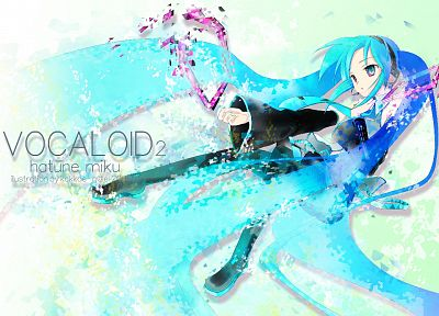 Vocaloid, Hatsune Miku, detached sleeves - desktop wallpaper