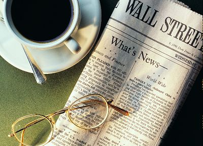 coffee, glasses, newspapers - desktop wallpaper