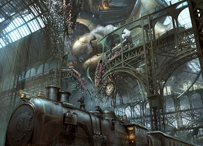 CGI, trains, fantasy art - desktop wallpaper
